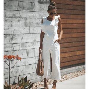 Vici Ruffle Denim White Jumpsuit